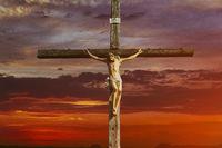 Jesus christ on cross over sunrise he is risen victory in easter day, good friday sunset god religious world christian