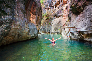 Swimming in the cold waters of the canyon