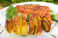 grilled salmon with potato spirals
