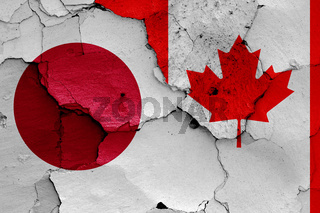 flags of Japan and Canada painted on cracked wall