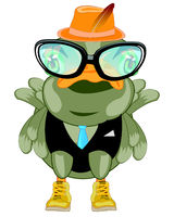 Cartoon of the bird bespectacled and suit with tie
