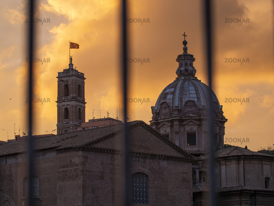View of the Roman Colonnade Through Bars Gate, Ancient Roman Ruins in Rome, Italy