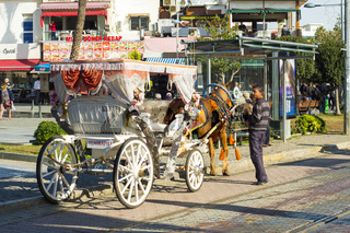 Kaleici Horse Drawn Carriage Rear View Antalya