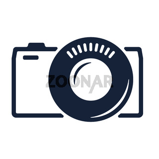 Evil camera icon in geometric style. Isolated and flat.