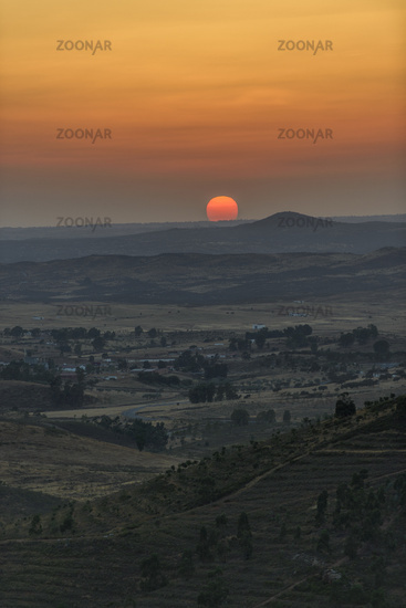 Sunset in Huelva area in Spain