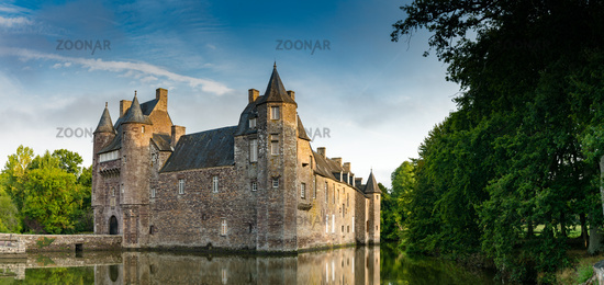 view of the historic Chateau Trecesson castle in the Broceliande Forest with reflections in the pond