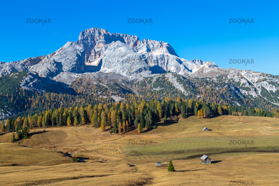 View over Prato Piazza on Mount Croda Rossa, Dolomites, South Tyrol
