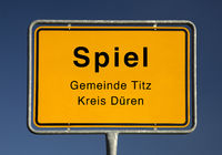 Village entrance sign of Spiel or game in English, in the district Dueren, Germany, Europe