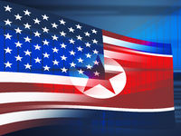 North Korea And United States Flags 3d Illustration