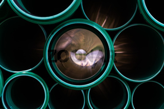 Green Abstract Flare Pipes Openings Glow Industrial Tubes