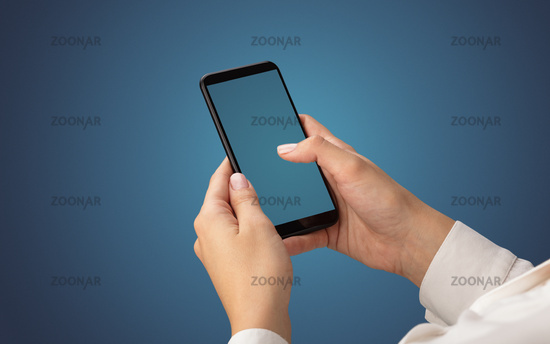 Mockup for female hand using smartphone