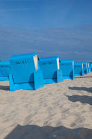 Typical beach chairs on the beach, Baltic coast, Germany.