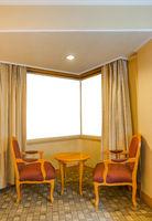 Hotel room and blank window