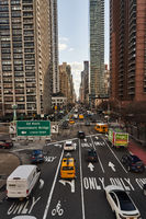 Street in New York City with traffic