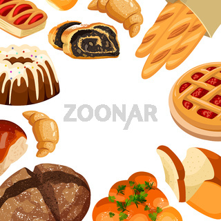 Vector square bakery frame. Baked bread products wheat, rye bread loafs, bagels, sliced bread toasts, croissant, bun, cherry pie, cake with icing