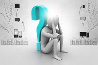 3d man sitting near the question mark