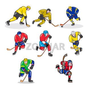 Ice Hockey Player Cartoon Set