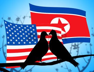 Usa North Korea Peace Doves On Branch 3d Illustration
