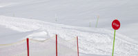Closed ski slope with stop sign