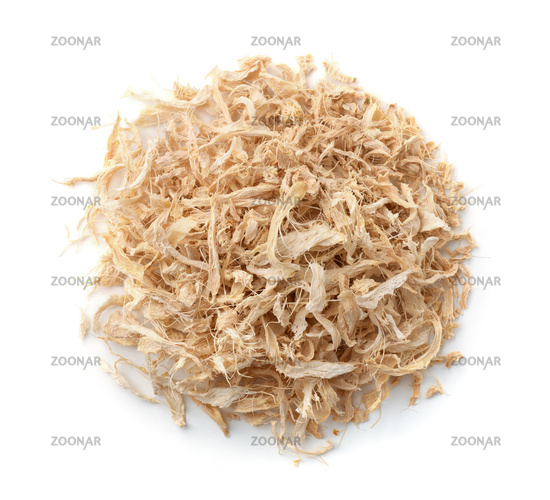 Top view of shredded dried ginger