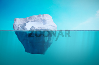 Iceberg under water view. Climate warming