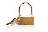 Unlocked golden padlock