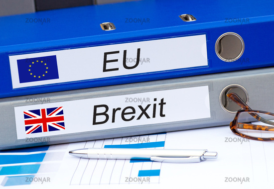 EU and Brexit binders in the office