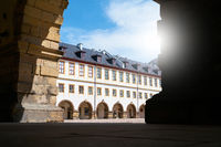 Inner courtyard of Friedenstein Castle in the old town of Gotha in Thuringia