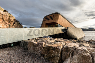 Lindesnes, Norway - October 2019: Exterior of underwater restaurant Under.