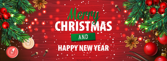Merry Christmas and Happy New Year. Christmas horizontal poster, greeting card, header, website, vector illustration.