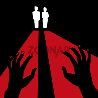 Classic terror illustration with hands and silhouettes.
