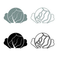 Cabbage icon outline set grey black color