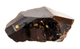 crystal of Cassiterite (Tin ore) stone isolated