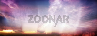 himmel farben panorama banner linien
