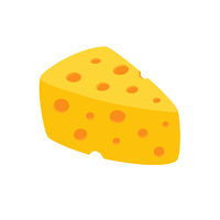 Cheese vector icon isolated on white background. Flat style.