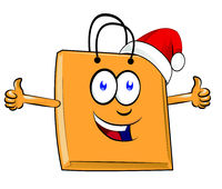 Shopping bag cartoon character mascot with christmas hat. giving a thumbs up