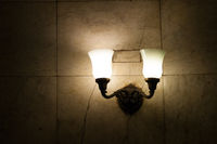 The design element is a lamp with two horns in the Moscow metro.