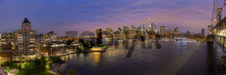 Brooklyn Bridge and Lower Manhattan skyline at night, New York city, USA.