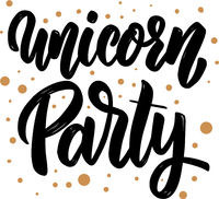 Unicorn party text. lettering phrase for greeting card, invitation, banner, postcard, web, poster template.
