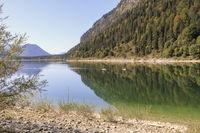 Autumn landscape, Sylvenstein reservoir, Bavaria, Germany