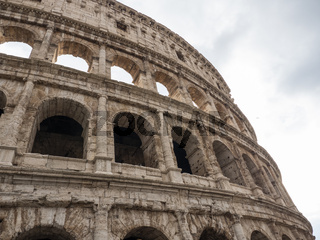 Closeup Low Angle View of Colosseum Ruins in Rome, Italy