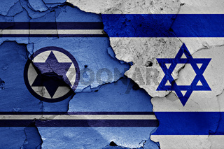 flags of Israel Air Force and Israel painted on cracked wall
