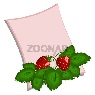 Gentle pink card with a bouquet of strawberries on a white background without inscriptions.