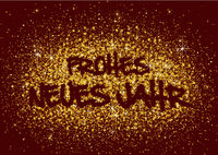 German Happy New Year Greeting with Gold Glitters