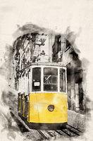 Watercolor Tram Lisbon