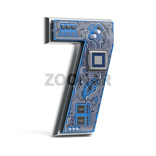 Number 7 seven, Alphabet in circuit board style. Digital hi-tech letter isolated on white.