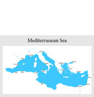 small outline map of the mediterranean sea