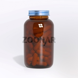 Blank glass medical bottle with tablets pills