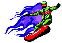 Snowboarder crow on fire vector illustration art