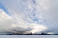 Akka massif in clouds, Lapland, Sweden